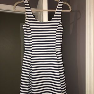 Dresses & Skirts - White and navy striped dress